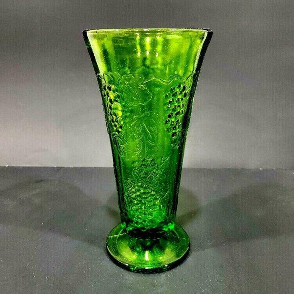 "VTG green embossed grapes footed glass vase 7"" H"
